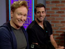 Aaron Rodgers on CLueless Gamer with Conan Obrien talking Anthony Barr
